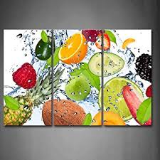 amazon com colorful various fruit with splash water wall art