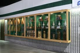 suspended trophy display case fixed to wall design display