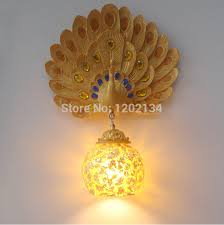 decorative wall lights for homes peacock wings resin wall l mosaic glass glazed cover ktv
