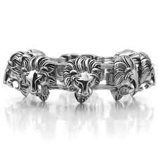 bracelet man silver stainless steel images Large heavy stainless steel bracelet for men silver black lion jpg