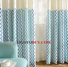 fresh light blue striped country style curtains for bedrooms and