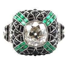 pretty diamond rings images Pretty diamond emerald onyx diamond ring at 1stdibs jpeg