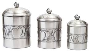 kitchen canister 3 apple canister set with fresh seal covers traditional