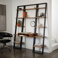 Narrow Oak Bookcase by Ladder Shelf Storage Desk Set 1 Wall Desk 2 Narrow Shelves