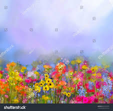 abstract art oil painting summerspring flowers stock illustration