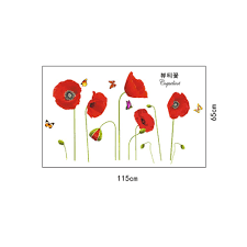 bright red corn poppy beautiful diy wall wallpaper stickers art customer reviews