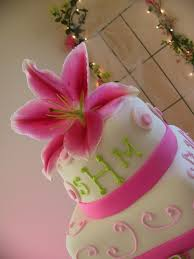 fondant stargazer lilly pink lime green and paisley wedding