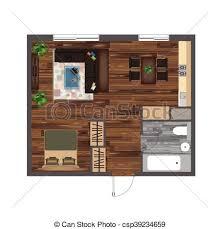 top view floor plan architectural color floor plan studio apartment vector clipart