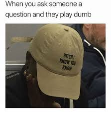 Dumb Bitch Meme - when you ask someone a question and they play dumb bitch know you
