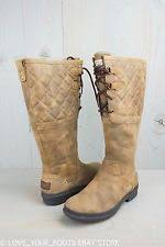 s elsa ugg boots ugg elsa deco quilt leather chestnut waterproof womens boots us 7