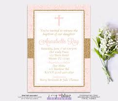 First Communion Invitations Cards Blush Pink Gold Baby Baptism Invitation Christening