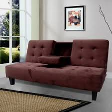 Plush Sofa Bed Size Futon Sofa Bed Upholstered In Tufted Plush Microfiber