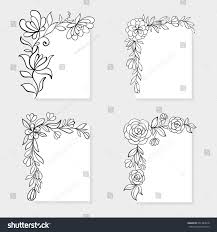 Invitation Card Border Design Set Black White Hand Drawn Corner Stock Vector 601784618