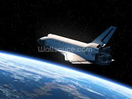 Football Wall Murals by Space Shuttle Orbiting Earth Wallpaper Wall Mural Wallsauce Usa