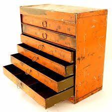 metal parts cabinet drawers vintage industrial metal parts cabinet 7 drawers in bright orange