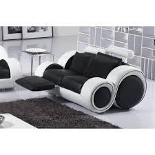 canap 2 places noir canapé 2 places en 100 cuir luxe noir et blanc designa achat