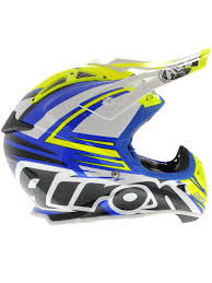 airoh motocross helmet airoh blue white yellow 2015 aviator 2 1 carbon kev lar van
