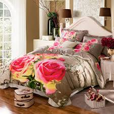 King Size Duvets Covers Aliexpress Com Buy 3d Floral Rose Print Pink And Gray Bedding