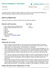 how to analyze a character lesson plan education com