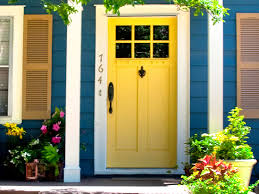 Light Yellow House by Fantastic Small Colorful Front Porch Design With Light Blue Wood