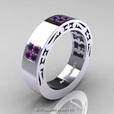 amethyst wedding rings amethyst wedding ring mens modern vintage 14k white gold amethyst