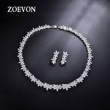 beautiful earring necklace set images Zoevon sparkling wedding earrings and necklace sets flower design jpg