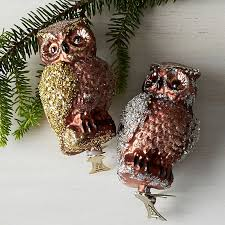 owl glass tree ornaments the company store