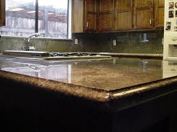 granite countertop kitchen cabinet end shelves rustic backsplash