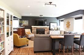 dark family room with benjamin moore gray and gentle cream