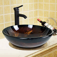 Oil Rubbed Bronze Vessel Sink Faucet Walcut Bathroom Modern Round Artistic Glass Vessel Sink With Oil