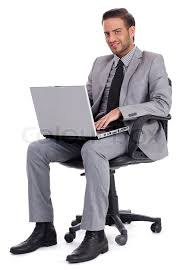Laptop Chair Desk Business Sitting With Laptop And Smiling At Office Desk
