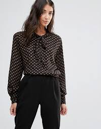 black pussybow blouse b b bow blouse with gold spots