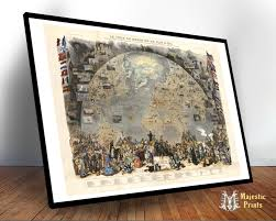 World Map Wood Wall Art by Le Tour Du Monde Antique World Map Old Maps And Prints Wall