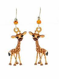 giraffe earrings baby giraffes earrings painted