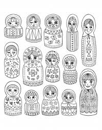 russian dolls coloring pages adults justcolor
