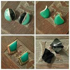 80s earrings 78 vintage jewelry vintage teal black 80s fashion
