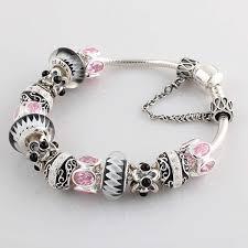 pandora bracelet charms silver images Pandora silver bracelet pink stone beads charms 84 00 cheap jpg