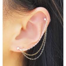 best earrings for cartilage 57 helix to lobe chain earring tiny heart cartilage chain