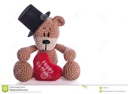 teddy bear with happy birthday heart pillow royalty free stock