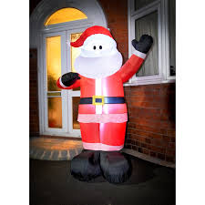 Outdoor Father Christmas Decorations Uk giant inflatable light up santa outdoor christmas decoration b u0026m