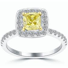 cushion cut engagement rings with halo 1 84 carat fancy yellow cushion cut engagement ring 18k