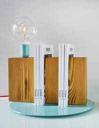 cool contemporary wooden table lamp design presenting wooden plank