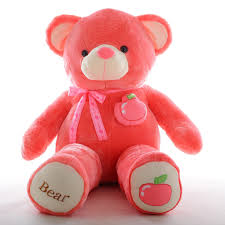 big teddy teddy in watermelon color huggble velvety plush toys big