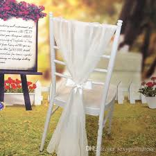 wholesale chair sashes 2018 gorgeous chagne white ivory chiffon wedding chair
