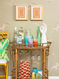 martini bar furniture how to upcycle a side table into a faux bar cart hgtv u0027s