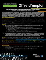 bureau emploi qu饕ec fédération des harmonies et orchestres symphoniques du québec