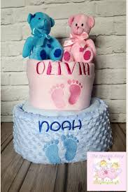2 tier personalised nappy cake twins baby baby boy baby