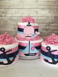 nautical diaper cake set in pink and navy nautical baby shower