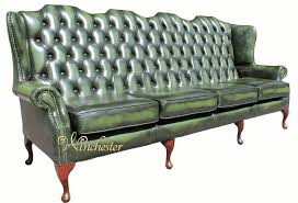 Traditional Leather Armchairs Uk Chesterfield 4 Seater Queen Anne High Back Wing Sofa Uk