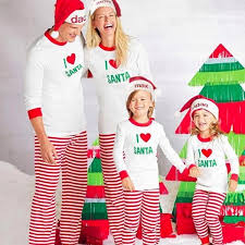 i santa printed 2 matching family pajamas